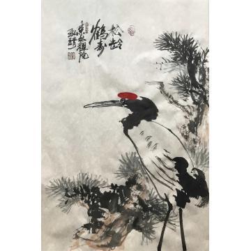 高光圃四尺三开,竖幅国画花鸟松龄鹤寿字画之家