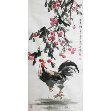王庆勇三尺整张竖幅国画花鸟大吉利字画之家