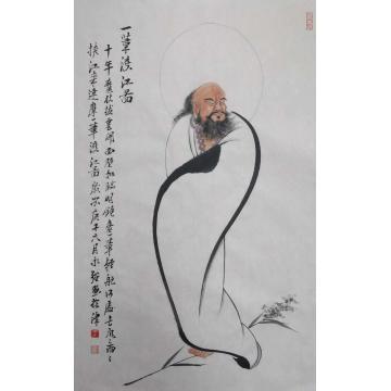 于永强四尺三开竖幅国画人物一笔渡江图字画之家