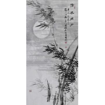 李鹏跃四尺整张竖幅国画花鸟清风明月字画之家
