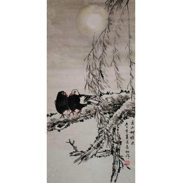 谢长虹三尺整张,竖幅国画花鸟月上柳梢头字画之家