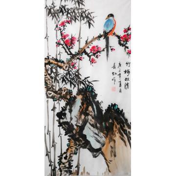 谢长虹三尺整张,竖幅国画花鸟竹梅双清字画之家