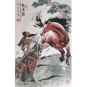佟宝全四尺三开,竖幅国画动物相马图字画之家