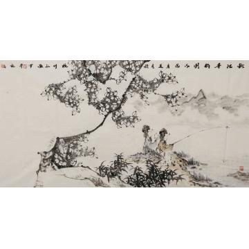 孙永猛四尺整张,横幅国画人物秋江垂钓图字画之家