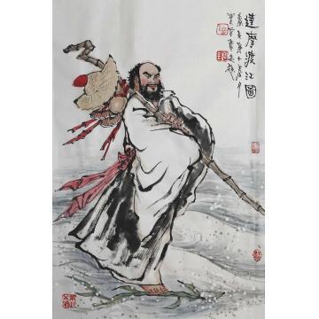 佟宝全四尺三开竖幅国画人物达摩渡江图字画之家