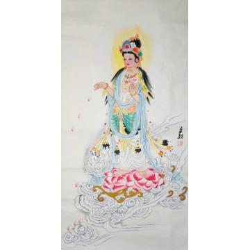 李亦非四尺整张,竖幅国画人物莲花观音宝像字画之家