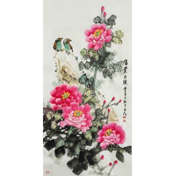 王长纯三尺整张竖幅国画花鸟富贵白头字画之家