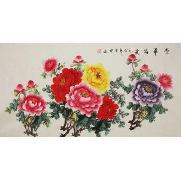 朱秋凤四尺整张,横幅国画花鸟荣华富贵字画之家