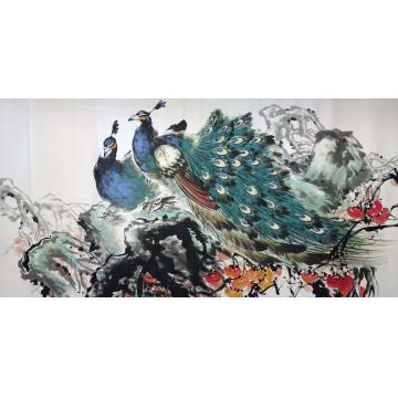 王孝华四尺整张横幅国画花鸟孔雀-四尺横定制字画之家