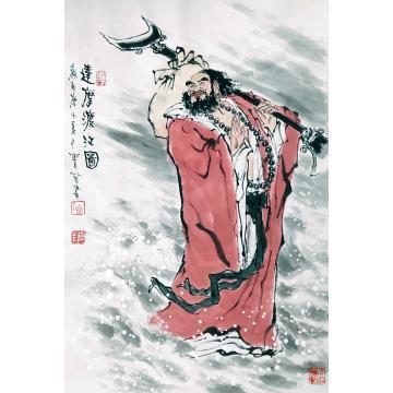 佟宝全国画人物达摩渡江图字画之家
