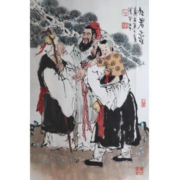 佟宝全四尺三开竖幅国画人物仁者寿字画之家