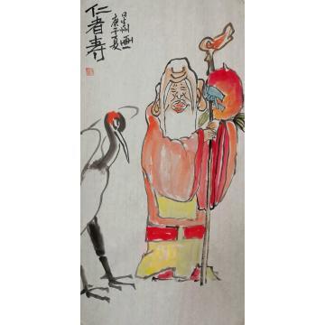 赵星州四尺四开竖幅国画人物仁者寿字画之家