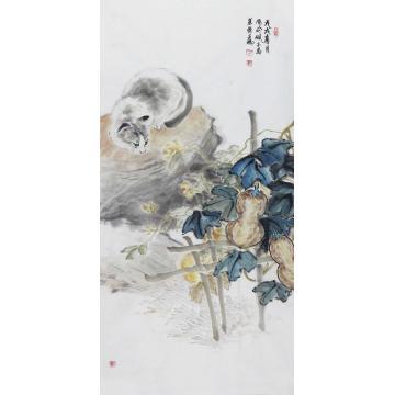 王鹏四尺整张竖幅国画动物野趣字画之家