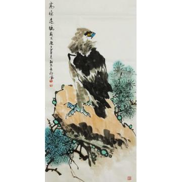 王长纯三尺整张竖幅国画动物高瞻远瞩字画之家