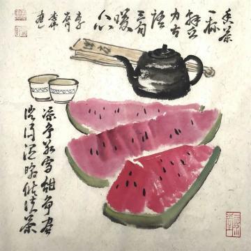 李伟四尺八开斗方国画花鸟香茶解乏吉语暖心字画之家