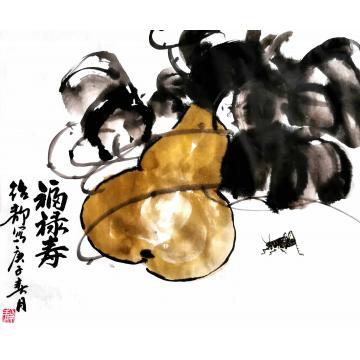 陈绍静四尺六开横幅国画花鸟福禄寿字画之家