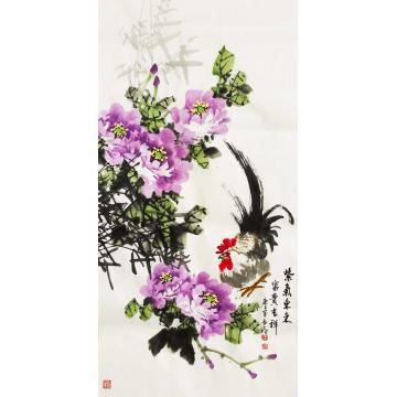 王长纯三尺整张竖幅国画花鸟紫气东来富贵吉祥字画之家
