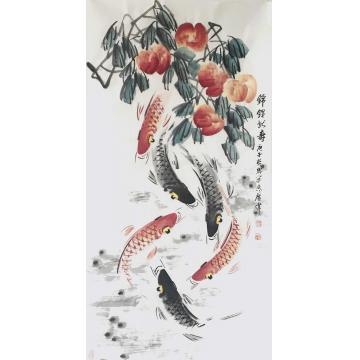 佟广伟四尺整张竖幅国画花鸟锦鲤献寿字画之家