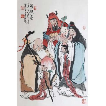 佟宝全四尺三开,竖幅国画人物福禄寿字画之家