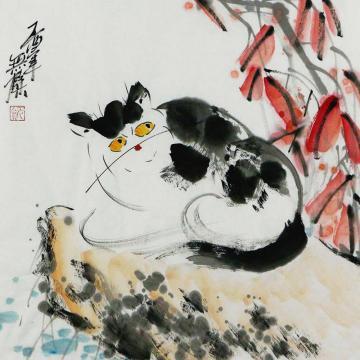 姜志勇三尺斗方国画动物猫趣字画之家