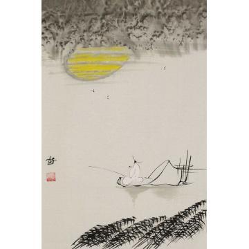 赵芳芳四尺三开竖幅国画人物垂钓图字画之家