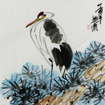姜志勇三尺斗方国画花鸟鹤字画之家