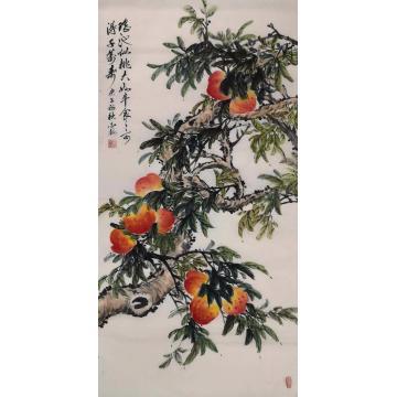 白金梅四尺整张竖幅国画花鸟瑶池仙桃字画之家