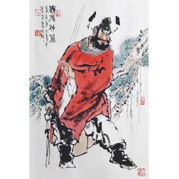 佟宝全四尺三开竖幅国画人物钟馗神威字画之家