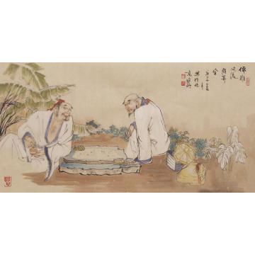 张国昕四尺三开横幅国画人物儒雅风流胜算全字画之家