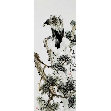 王长纯小六尺整张竖幅国画花鸟高瞻远瞩字画之家