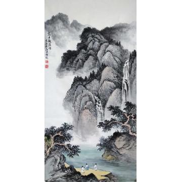 于恩沛四尺整张竖幅国画山水高士观瀑图字画之家