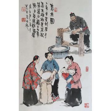 佟宝全国画人物舂米图字画之家