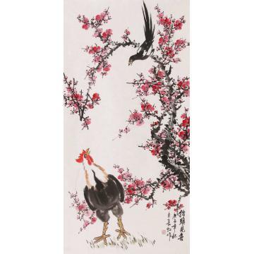 谢长虹四尺整张竖幅国画花鸟抬头见喜字画之家