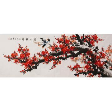 田成喜小六尺整张横幅国画花鸟喜上眉梢字画之家