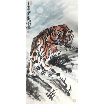 刘文录四尺整张竖幅国画动物王者风范字画之家