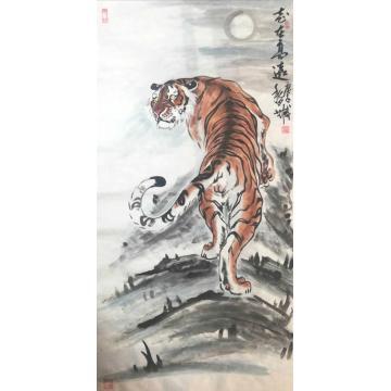 刘文录四尺整张竖幅国画动物志在高远字画之家