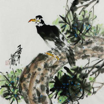 姜志勇三尺斗方国画花鸟屹立于松字画之家