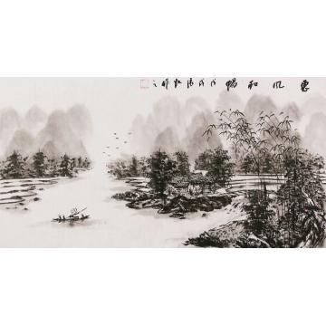 张凯三尺整张横幅国画山水惠风和畅字画之家