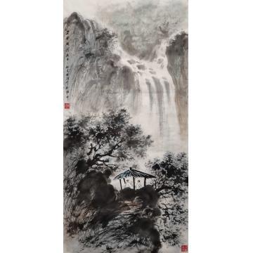 时浩三尺整张竖幅国画山水云亭流泉字画之家