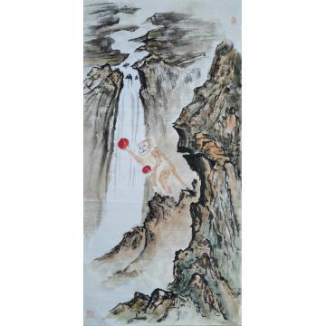 高洪敏四尺四开竖幅国画山水猴王献寿字画之家