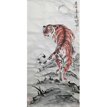 刘文录四尺整张横幅国画动物志在高远字画之家