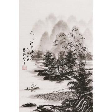 张凯四尺三开竖幅国画山水江上渔者字画之家