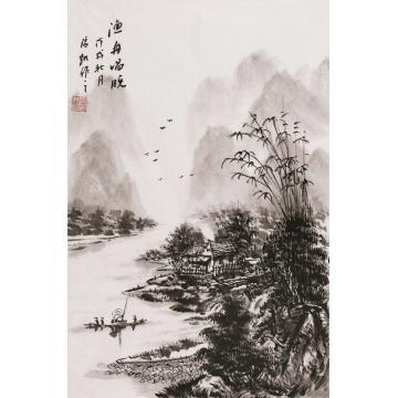 张凯国画山水渔舟唱晚字画之家
