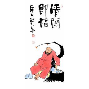 张海波四尺四开竖幅国画人物清闲即福字画之家