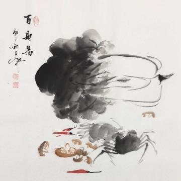 吴定川国画花鸟百财图字画之家