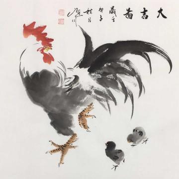 吴定川三尺斗方国画花鸟大吉图字画之家