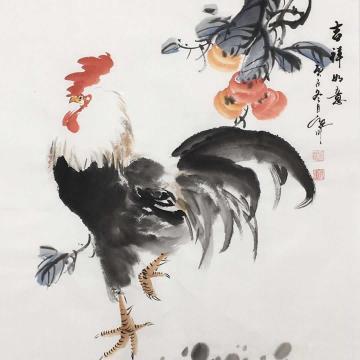 吴定川三尺斗方国画花鸟吉祥如意字画之家