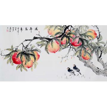 胡林梦三尺整张横幅国画花鸟延年益寿字画之家