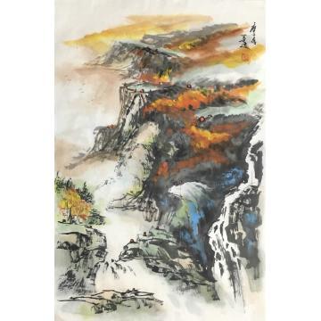 郭二林四尺三开竖幅国画山水秋林染翠字画之家