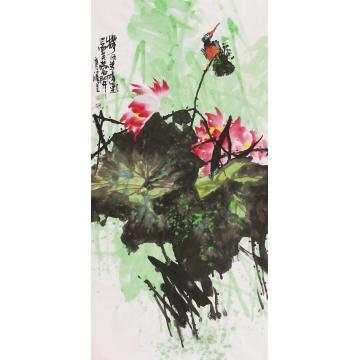 武洪星四尺整张竖幅国画花鸟荷风送香气字画之家